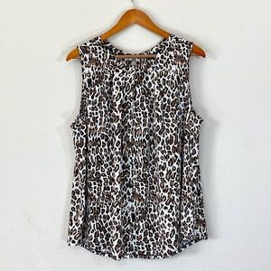 Adrianna Papell Sleeveless Cheetah Print Top NWOT